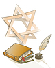 Vector clipart: Ancient books and feather and Star of David sign