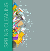 Vector clipart: Spring cleaning vertical border background. Cleanin