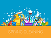 Vector clipart: Spring cleaning background. Set of cleaning