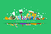 Vector clipart: spring cleaning supplies green background. tools