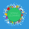 Vector clipart: Spring cleaning round background. Set of cleaning