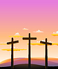 Vector clipart: three crosses on Calvary abstract background.