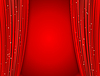 Vector clipart: red curtains on red background with glittering