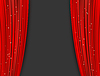 Vector clipart: red theater curtains with glitter. abstract