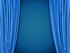 Vector clipart: blue theater curtains with glitter. abstract