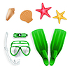 Vector clipart: Diving equipment, starfish and sea shells
