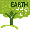 Vector clipart: Earth Day greeting with abstract tree as human