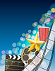 Vector clipart: Cinema background with filmstrip, golden star,