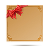 Vector clipart: gift card with golden swirl frame and red ribbon.