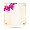 Vector clipart: gift card with golden swirl frame and pink ribbon.