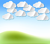 Vector clipart: Paper white clouds with shadow abstract background