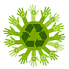 Vector clipart: Conceptual ecology with hands and recycling sign. v