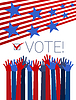 Vector clipart: Vote conceptual with raising hands, red stripes