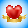 Vector clipart: Red heart with golden ribbon on blue background