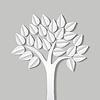 Vector clipart: abstract with tree made of paper with shadow. vecto