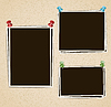 Vector clipart: Photo frames composition with pushpins on retro