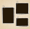 Vector clipart: Photo frames composition with clips on retro