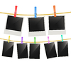 Vector clipart: Photo frames hanging on rope with multi color