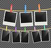 Vector clipart: Photo empty frames on rope with wooden clothespins