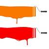 Vector clipart: roller brush painting orange and red banner
