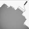 Vector clipart: roller brush painting white over grey background.