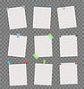 Vector clipart: Note papers sheets with scotch tapes,pushpins, pins