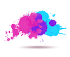 Vector clipart: Purple and blue color ink transparent blots abstrac