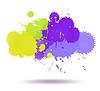 Vector clipart: Green and violet color ink transparent blots