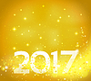Vector clipart: Golden abstract background with 2017 number. Happy