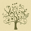 Vector clipart: tree with curly twigs with musical notes and signs
