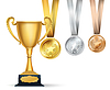 Vector clipart: Golden trophy cup and set of medals with ribbons