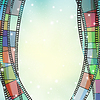 Vector clipart: Cinema background with color film strips and