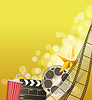 Vector clipart: Cinema background with filmstrip, golden star,