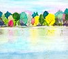 ID 5778289 | Hand painted watercolor background with lake, autum | High resolution stock illustration | CLIPARTO