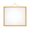 white lacard with wooden frame hanged