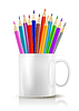 White realistic cup with color pencils