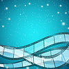 Vector clipart: cinema background with film strips over blue
