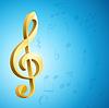 золотой ключ г скрипичный ключ и ноты музыкальные над синим