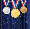 Векторный клипарт: Набор медалей и лент над занавесом фоне