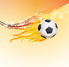 Векторный клипарт: футбол фон с мячом с летающей огнем пламя