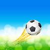 Векторный клипарт: Футбольный мяч пролетел над зеленой и голубой пейзаж