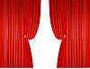 Векторный клипарт: открытые красные шторы с веревками
