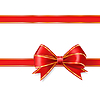 red ribbon bow with gold . decorative design elem