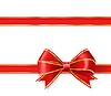 Векторный клипарт: красная лента лук с золотом. декоративный дизайн элем