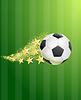 Векторный клипарт: Футбольный мяч пролетел над зеленым футбольное поле с