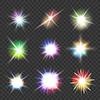 Векторный клипарт: набор вспышек с цветными огнями