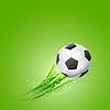 soccer ball flying over green background