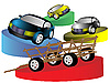 Vector clipart: rural carriage and cars