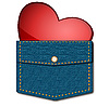 Heart in pocket | Stock Illustration