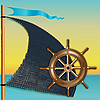 Sail and steering wheel | Stock Illustration